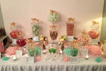 Pink, mint & gold wedding lolly buffet / A gorgeous lolly buffet created for a wedding at the Tea Rooms Gunners Barracks Mosman. The theme was light pink, mint with a splash of gold / vintage style theme