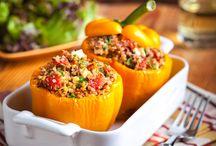 Ground turkey / Quinoa Turkey stuffed peppers