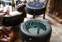 chairs and furniture made from tyres / crafts
