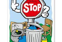Recyclingschilder und Müllentsorgungsschilder / Schilder für Mülltrennung und Müllentsorgung