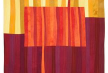 Field Study - Abstract Textile Art Series by Lisa Flowers Ross / Bright orange and burgundy branches in a field set against a winter landscape was the beginning inspiration for this series of artworks.