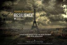 """Roman """"Résilience"""" / Affiches promotionnelles du thriller """"Résilience"""" de Yannick Monget, paru aux éditions de la Martinière (2016)"""