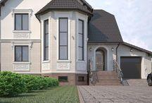Дизайн проект фасада частного дома в стиле ампир / Пожелания заказчика: создать дизайн проект фасада частного дома в стиле ампир.
