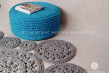 handmade crocheted pouf, footstool, coffee table / handmade crocheted pouf, footstool, coffee table