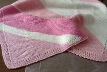 Manta rosa com listras