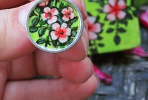 Hand Painted Pink & Lime Green Earrings With Matching Gift Box / These vintage style, metal circle earrings feature pink flower with a bright lime green background. I carefully and lovingly painted these vintage pink flowers directly onto the metal earrings and I hand painted a matching heart shaped gift box to go with it!   If you enjoy vintage, pop-art and the simple beauty flowers, you will love these special pink flower petal earrings! They are also the perfect gift for any woman or girl who is a fan of flowers.  / by Painted Fancy