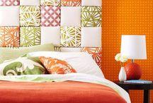 Bedroom Decor / Orange, yellow and blue master bedroom / by Tina Robinson