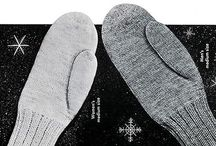 Slippers and mittens knitted