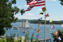 Castine, Maine - a spectacular harbor! / Castine Harbor is home to a wide variety of maritime vessels.  From the State of Maine training ship for Maine Maritime Adademy and a fleet of classic yachts to lobster boats and sea kayaks, all work harmoniously in this pristine deep water anchorage.