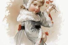 Karácsony gyerek színes / child Christmas Vintage transfer transzfer colorful