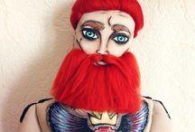 Beard Tattoo Dolls / Textile Dolls, Beard Tattoo Reg Doll from Moscow