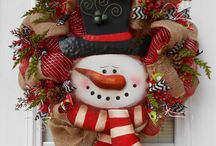 Snowman face Xmas wreath
