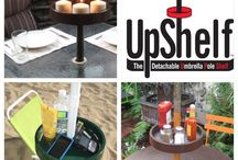 UPSHELF Detachable Umbrella Pole Shelf, Umbrella Table, Beach Table, Patio Table