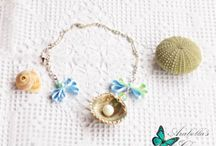 Necklace with pendant sea shell with pearl made of polymer clay