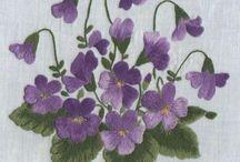 violetas pintar o bordar