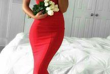 Robe de bal de fin d'année rouge