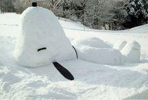 Lumiveistoksia - Snow sculptures