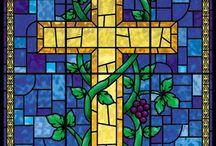 glas in lood kruis