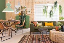 Stijl Studio: Botanic / vtwonen Stijl Studio 'Botanic' haalt alle goeds van buiten naar binnen! Met warme aardetinten, bladmotieven en een spannende materiaalmix van doorleefd hout, geschuurd leder en rotan creëer je je eigen binnentuin in een handomdraai! / by Eijerkamp - Wooninspiratie, tips & trends