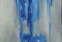 Blue, gray, gold and something else / Oil paint art
