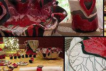 RAKU décoration de table / RAKU Art de la table - sous-verres - sous plat - plat - porte serviette - porte couteau - pot - vase - bougeoir...