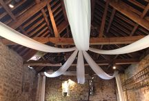 Draping, backdrop lighting / Wedding room draping, ceiling draping and backdrop lighting is becoming more and more popular especially as our brides look to save money by having their receptions at blank canvas venues that they can totally personalise.