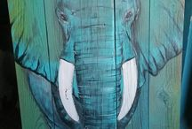 Elephant art wood