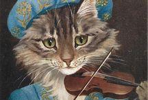 gatito tocando violín
