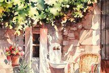 watercolor sceneries