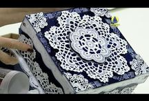 caixa com papel croche