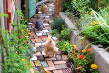 花のある玄関前アプローチ