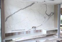 หิน Italia surface: Statuario ติดตั้งงานผนัง T.V