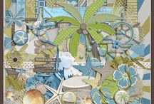 Beach & Ocean kits / Digital scrapbooking kits with a beach or ocean theme