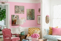 Pink aqua and gold living room