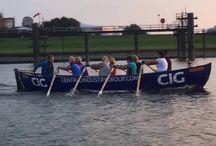 Rowing in a sloop.
