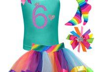 Girls Rainbow 6th Birthday 6 / girls 6th birthday rainbow tutu skirt, glitter 6 shirt with love heart and princess crown, rainbow socks, princess rainbow hair bow.
