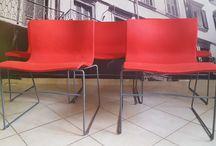 knoll vignelli / Komplet 5 krzeseł Knoll International. Model Handkerchief. Projekt Massimo & Lella Vignelli, z 1983 roku.
