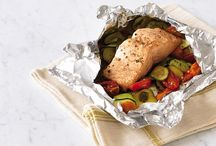 salmão e legumes