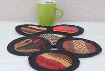 LEATHER WOOL KILIM TEA CUPS SET OF 6