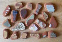 Sea pottery, sea pebbles / surf tumbled sea pottery, painted rock, pebble art
