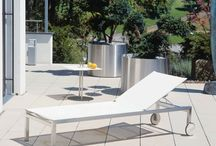 """Fischer Moebel's """"Helix"""" outdoor furniture collection! / The Fischer Moebel """"Helix"""" outdoor furniture collection is characterized by the clear design of the stainless steel frame. Minimalism at the highest level for those who appreciate elegant easiness. Seating comfort is ensured by the use of extremely high quality materials. Side tables and sunbeds complete the range!"""