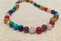 Baltic Essentials Semi-Precious Necklace for baby/toddler mixed with Baltic Amber
