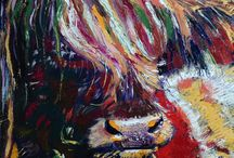 my coo paintings / Art by Jane Birrell, Highland cow portraits