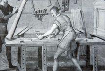 Gammelt verktøy og verksted etter middelalder