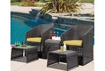 atio Furniture Outdoor Set Rattan Table Chairs Footstools Garden Pool Seating
