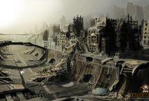Постапокалиптика / Постапокалиптика - творческий стиль, несущий настроение пустынности, одиночества и ужаса в образах постаревшей и покинутой техники или зданий.