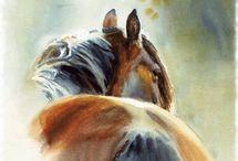 horses watercolor