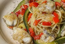spaghetti con coda di rospo, peperoni e zucchine filangè / Spaghetti con coda di rospo, peperoni e zucchine filangè