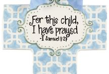 Ceramic Baptis Crosses by Sue Berk Designs / Ceramic crosses, wooden frames and baby blankets for your sweet family!