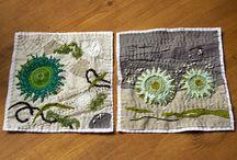 Art Textile / Mix papier, tissus, fils images....